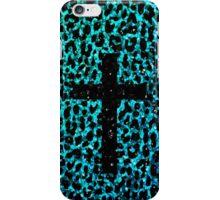 Aqua Sparkle Leopard Cross iPhone Case/Skin