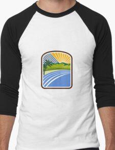 Tropical Trees Mountains Sea Coast Rectangle Retro Men's Baseball ¾ T-Shirt