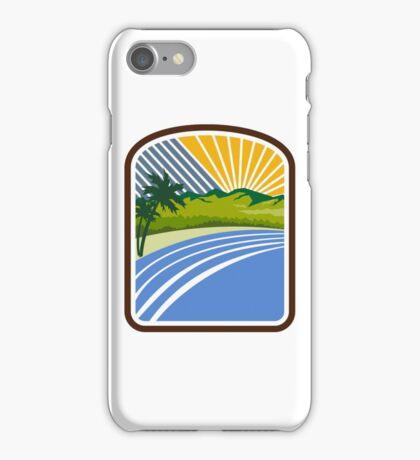 Tropical Trees Mountains Sea Coast Rectangle Retro iPhone Case/Skin