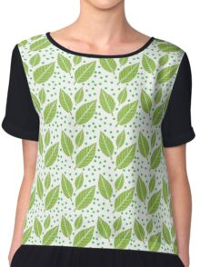 Green Leaf Patern Women's Chiffon Top