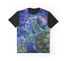 Clean Oceans Sea Turtle Art Graphic T-Shirt