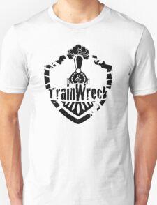 TrainWreck Full Logo - Black on White Unisex T-Shirt