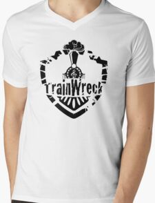 TrainWreck Full Logo - Black on White Mens V-Neck T-Shirt