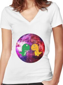 Dinosaur Love Quote Women's Fitted V-Neck T-Shirt