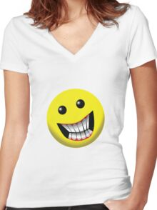 Smiley Face Women's Fitted V-Neck T-Shirt