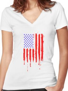 Dripping Blue Red American Flag Women's Fitted V-Neck T-Shirt