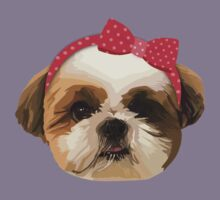 Shitzhu Dog with Headband Kids Tee