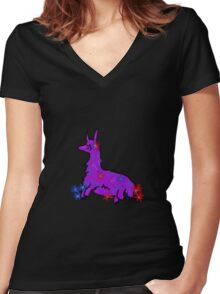 Llama with flowers Women's Fitted V-Neck T-Shirt
