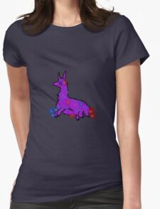 Llama with flowers Womens Fitted T-Shirt