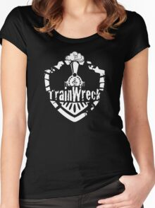 TrainWreck Full Logo White on Black Women's Fitted Scoop T-Shirt