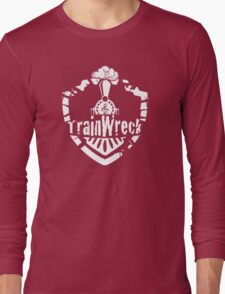 TrainWreck Full Logo White on Black Long Sleeve T-Shirt
