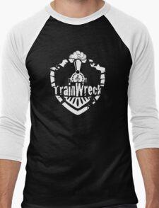 TrainWreck Full Logo White on Black Men's Baseball ¾ T-Shirt
