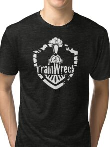 TrainWreck Full Logo White on Black Tri-blend T-Shirt