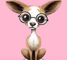 Cute Curious Chihuahua Wearing Eye Glasses on Pink by Jeff Bartels