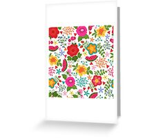 Seamless pattern with summer flowers and fruits Greeting Card
