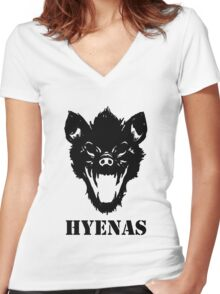 Hyenas (black) Women's Fitted V-Neck T-Shirt