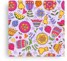 Seamless pattern with painted flowers and fruits. Canvas Print