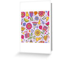Seamless pattern with painted flowers and fruits. Greeting Card