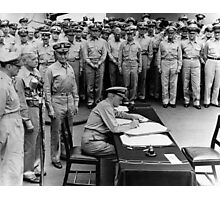 Admiral Nimitz Signing The Japanese Surrender  Photographic Print