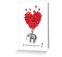 cute Love Carries All Elephant Greeting Card