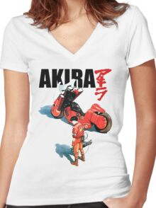 Akira Kaneda and Motorcycle Women's Fitted V-Neck T-Shirt