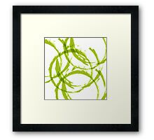 Green stain rings abstract background Framed Print