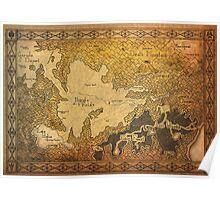 Zelda - Map of Hyrule burned details Poster