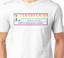 lesbian warning label Unisex T-Shirt
