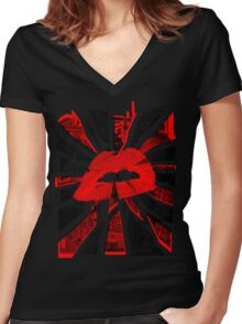 Red abstract Lips  Women's Fitted V-Neck T-Shirt