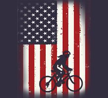 Cycling on American flag Womens Fitted T-Shirt