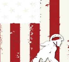 Cycling on American flag Sticker