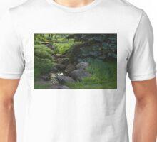 Soft Babble - Miniature Creek Through a Beautifully Landscaped Garden Unisex T-Shirt