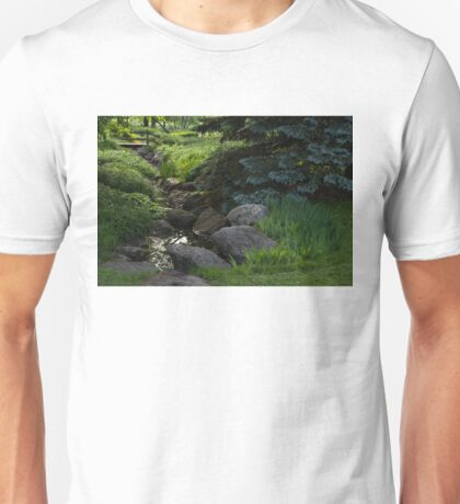 Soft Babble - Miniature Creek Through a Beautifully Landscaped Garden Unisex T-Shirt