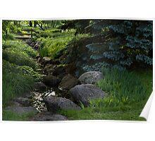 Soft Babble - Miniature Creek Through a Beautifully Landscaped Garden Poster