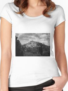 Traditional French hillside village in black and white Women's Fitted Scoop T-Shirt
