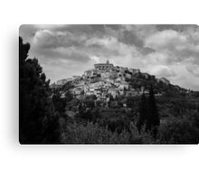 Traditional French hillside village in black and white Canvas Print