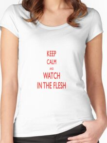 keep calm and watch ITF Women's Fitted Scoop T-Shirt