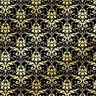 Damask Glitter Gold Classic Elegant Black by Beverly Claire Kaiya