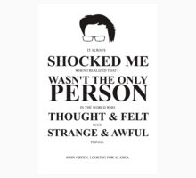 John Green Quote Poster - It always shocked me Kids Clothes