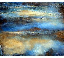 Blue, Brown and Gold Abstract Painting CLOUD DRIFTER Photographic Print
