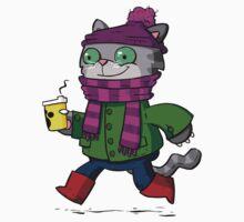 Winter Kitty One Piece - Short Sleeve
