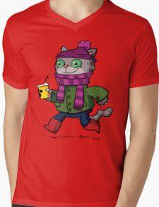 Winter Kitty Mens V-Neck T-Shirt