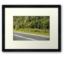Road sign attention elk Framed Print