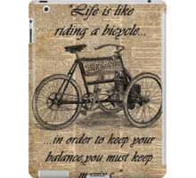 Vintage Tricycle Motivational Quotes Antique Dictionary Book Page Art iPad Case/Skin