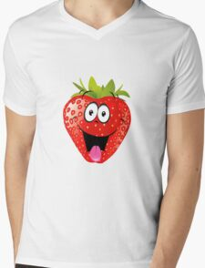 smiling Strawberry  Mens V-Neck T-Shirt