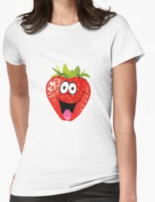 smiling Strawberry  Womens Fitted T-Shirt