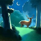 The Deer and the Moonlight by thedrawinghands