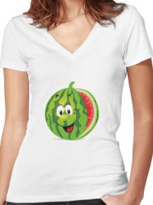 smiling watermelon, cartoon Women's Fitted V-Neck T-Shirt