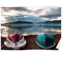 Hulls of Boats And Marmaris Winter Seascape Poster