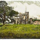 A digital painting of The Castle, Ashby-de-la-Zouch, Leicestershire, England. by Dennis Melling